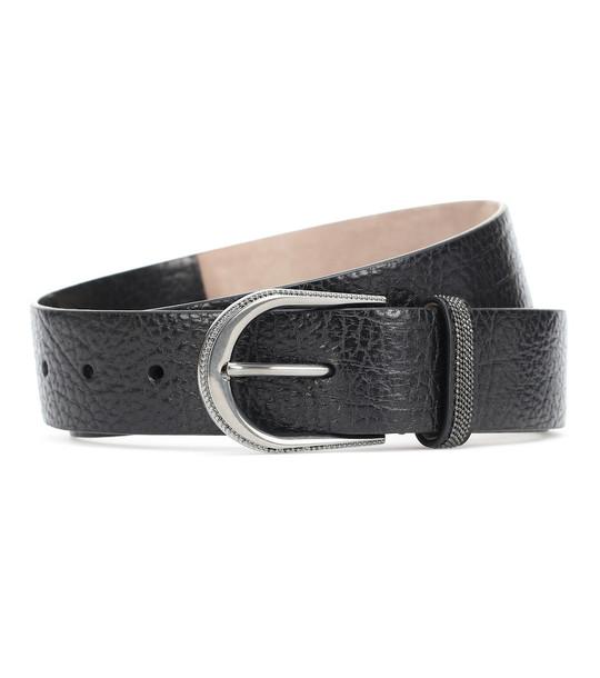 Brunello Cucinelli Embellished leather belt in black
