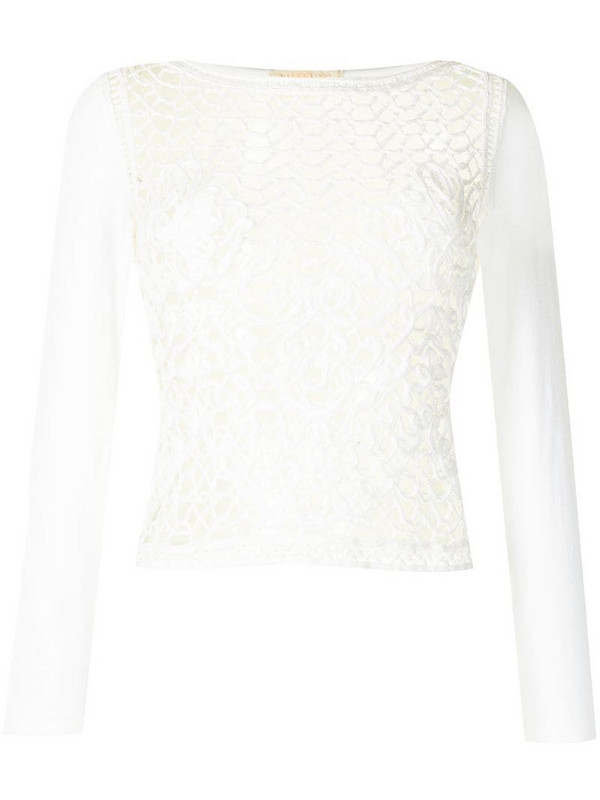 Valentino Pre-Owned open knit long-sleeved blouse in white