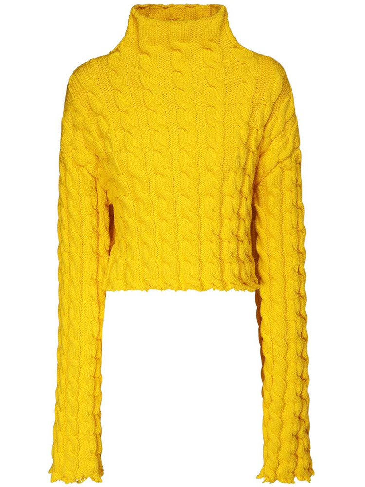 BALENCIAGA Crop Knit Cable Sweater in yellow