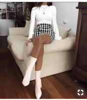 skirt,white,plaid skirt,black,checkered