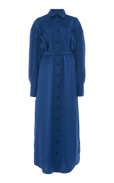 Jacquemus La Robe Valmy Belted Cotton-Poplin Maxi Dress in blue