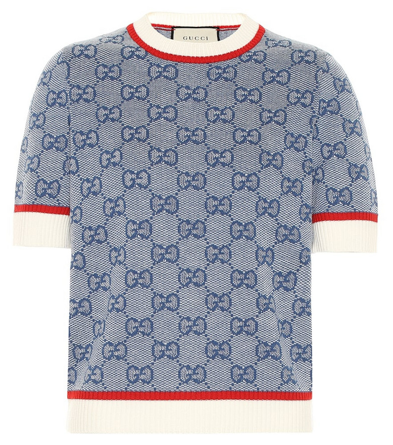 Gucci GG knitted wool and cotton top in blue