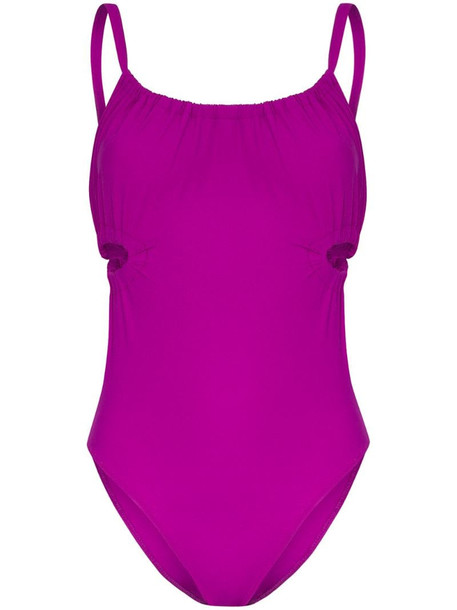 Araks Yui ruched cut-out swimsuit in purple