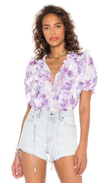 For Love & Lemons Zinna Ruffle Blouse in Lavender in purple