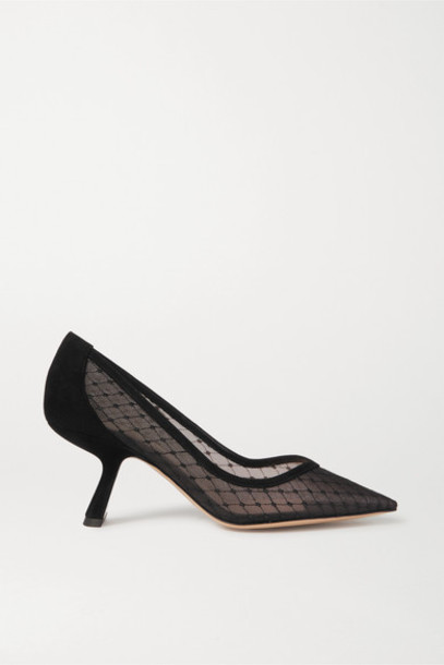 Nicholas Kirkwood - Lexi Suede-trimmed Embroidered Tulle Pumps - Black
