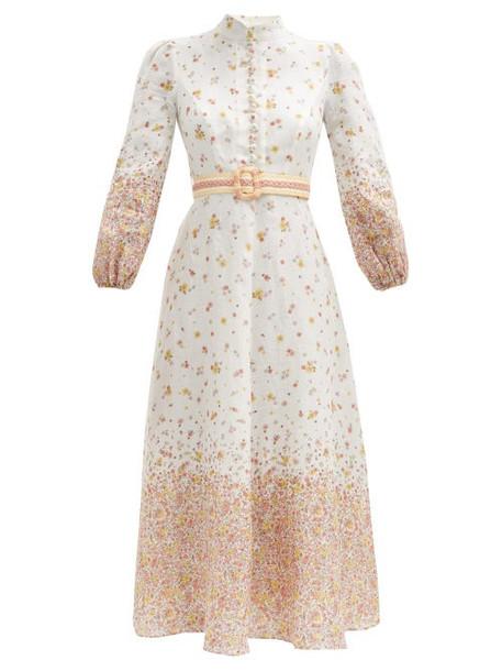 Zimmermann - Carnaby Belted Floral-print Linen Midi Dress - Womens - Orange Print