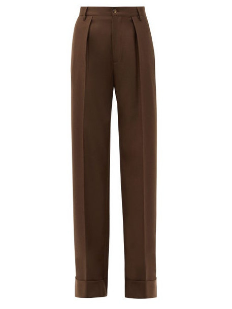 Connolly - Turn-up Cuff Wool-blend Wide-leg Trousers - Womens - Dark Brown