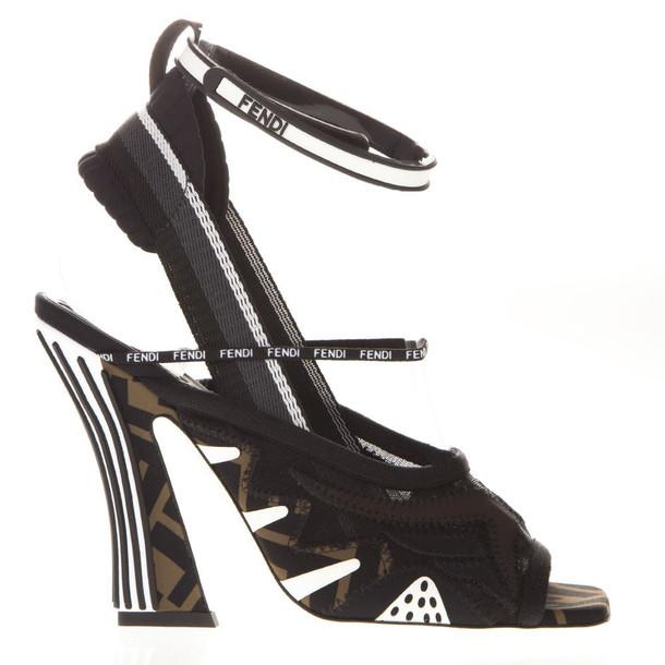 Fendi Ffreedom Black Mesh Sandal