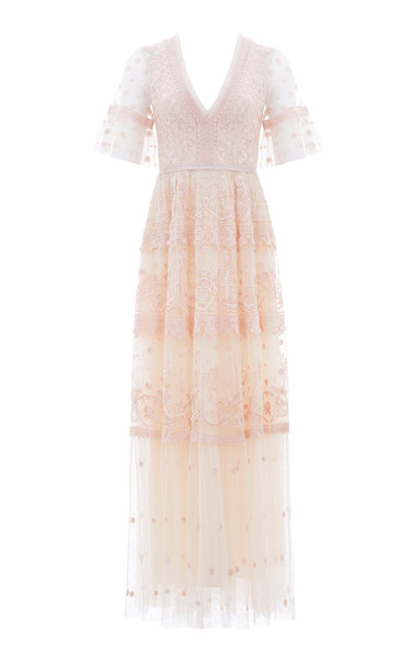 Needle & Thread Midsummer Lace Gown in white
