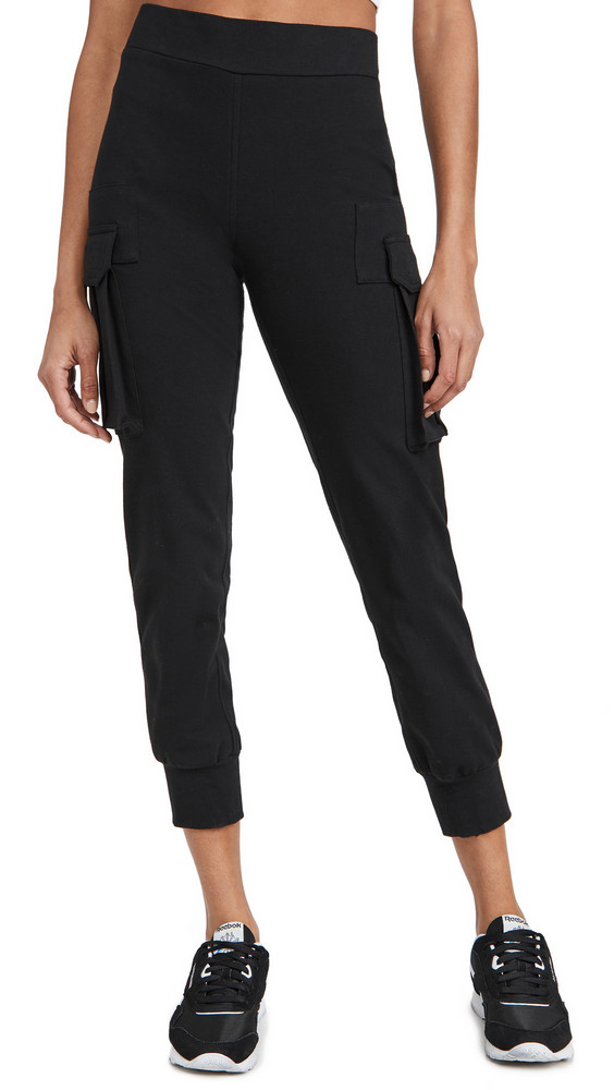 Norma Kamali Cargo Jogger Pants in black