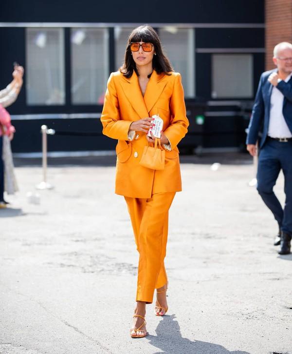 jacket blazer double breasted straight pants orange sandal heels mini bag handbag