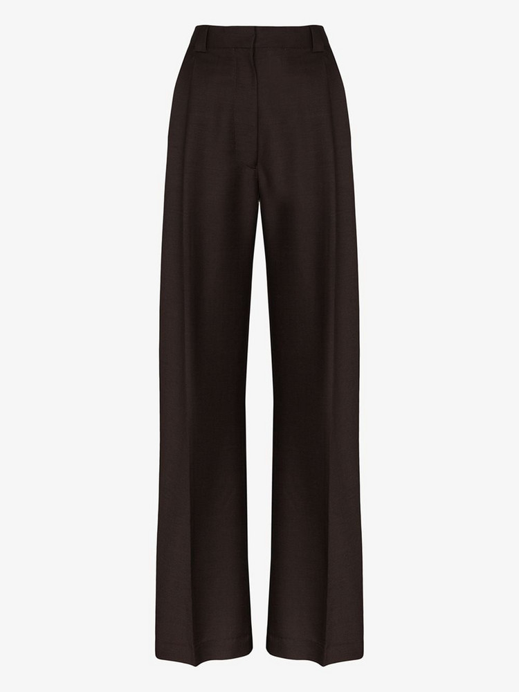 EFTYCHIA high-waisted tailored wool trousers in brown