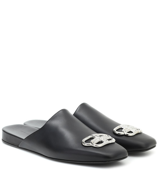 Balenciaga Cosy BB leather slippers in black