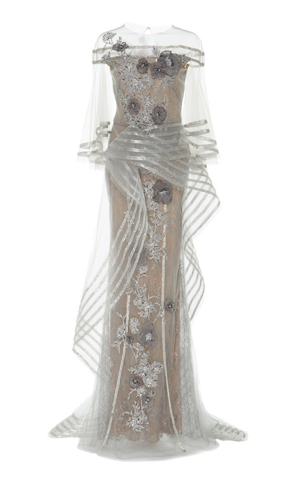 Marchesa Metallic Floral-Appliqué Tulle Gown in silver