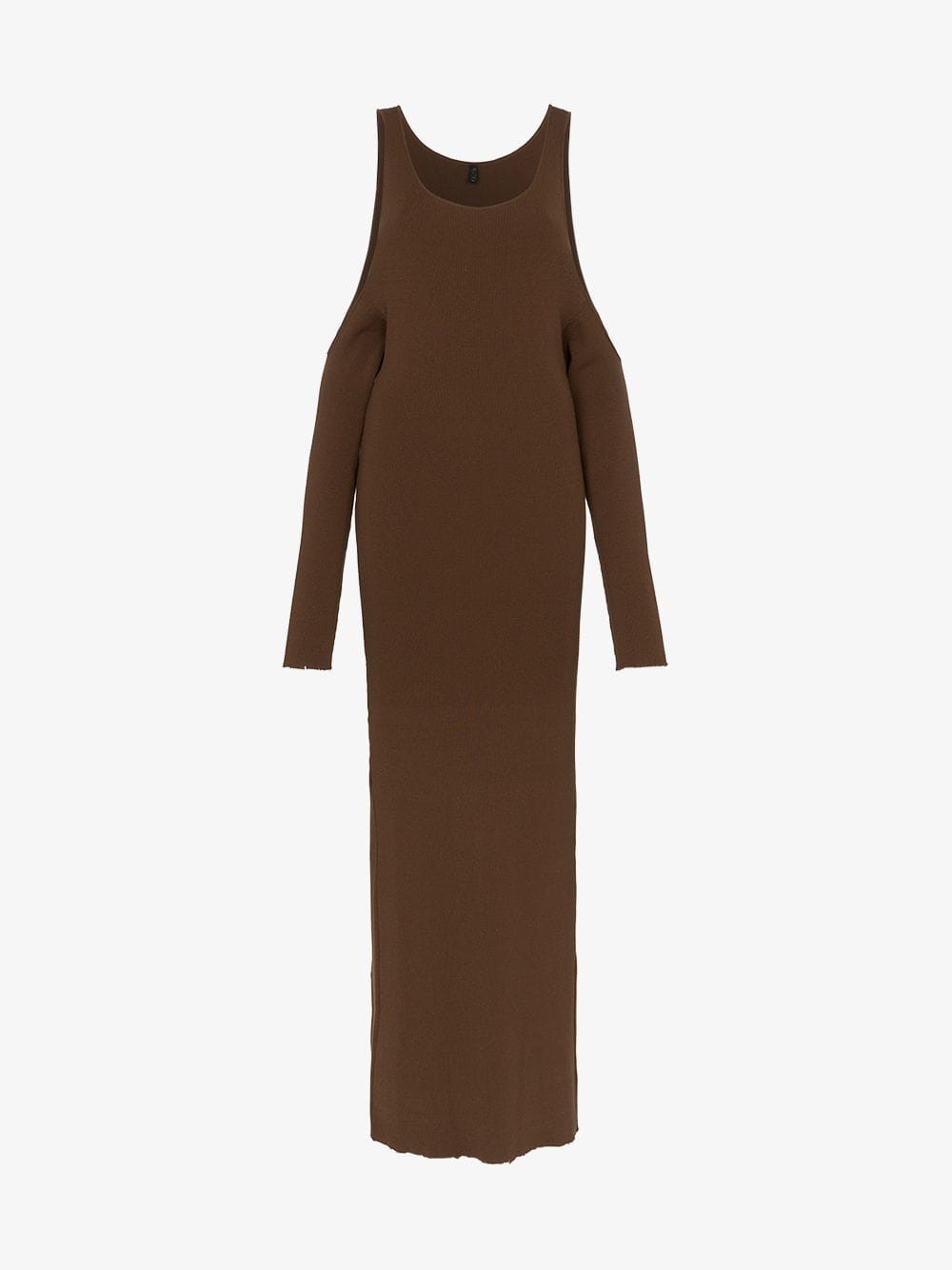 Unravel Project cold shoulder knitted maxi dress in brown