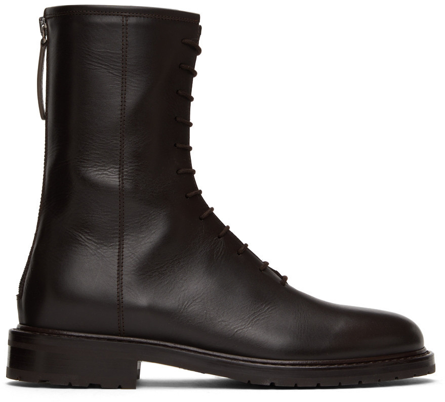 Legres Leather Combat Boots in brown