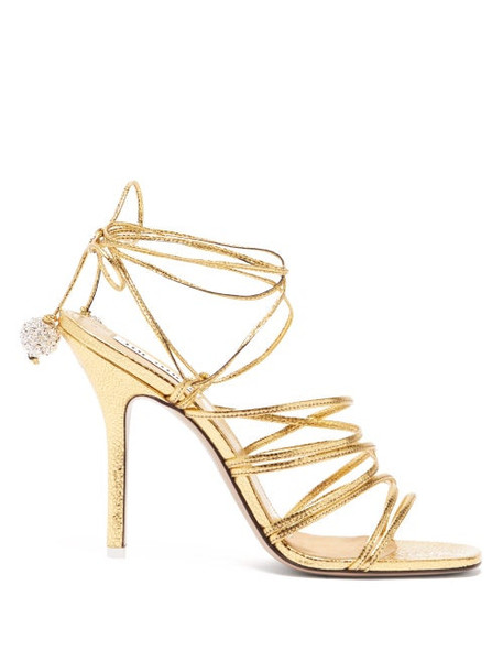 The Attico - Crystal Embellished Leather Heeled Sandals - Womens - Gold