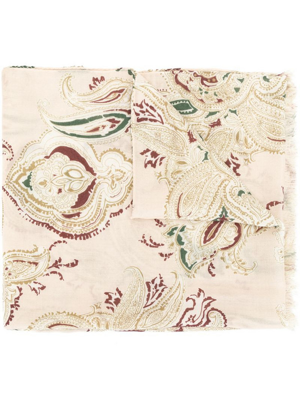 Colombo paisley cashmere scarf in brown