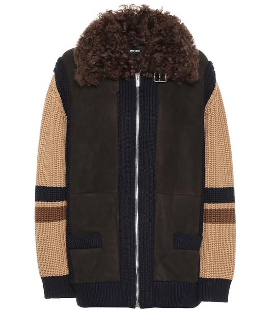 Miu Miu Suede and wool jacket in brown