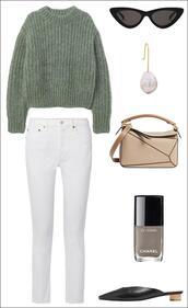 le fashion image,blogger,sweater,sunglasses,jewels,bag,jeans