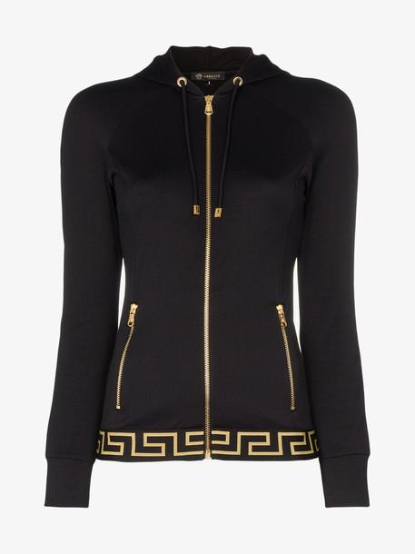 Versace zip-up logo track jacket in black