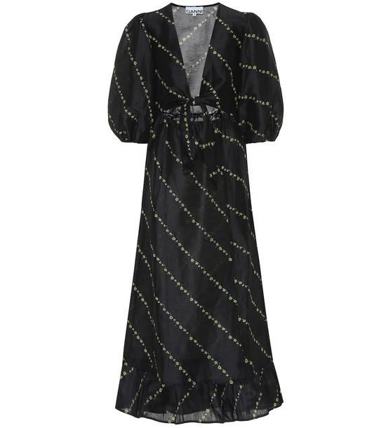 Ganni Printed linen and silk midi dress in black