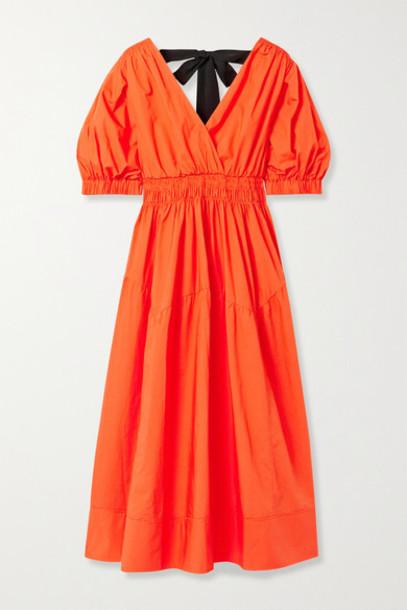 Self-Portrait - Shirred Cotton-poplin Midi Dress - Bright orange