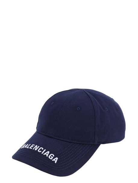 BALENCIAGA Logo Embroidered Baseball Hat in blue / white