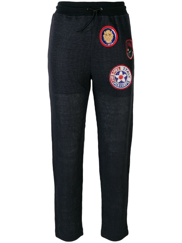 Mr & Mrs Italy patched slim trousers in blue