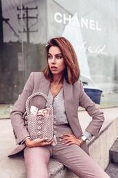 viva luxury,blogger,pants,blazer,suit,jacket,bag,pearl bag,spring outfits