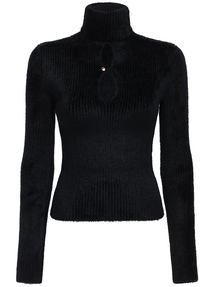MONCLER GENIUS Chenille Knit Sweater W/cut Out in black