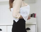 clutch,boho,lace,white,bag,white bag