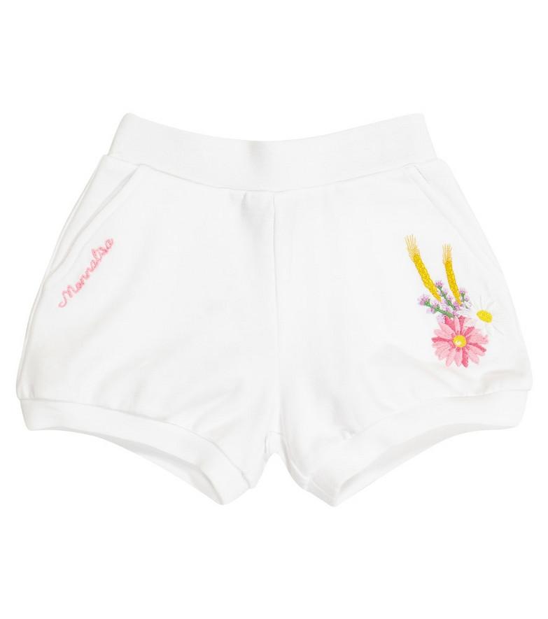 Monnalisa Baby stretch-cotton shorts in white