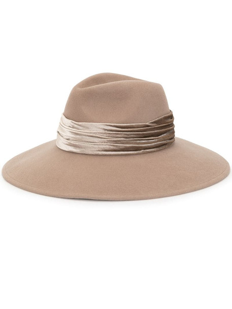 Eugenia Kim draped band felt hat in brown