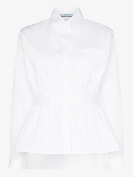 Prada Gathered waist buttoned shirt in white
