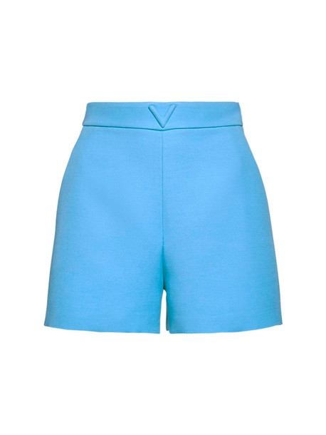 VALENTINO V Logo Wool & Silk Couture Shorts in blue