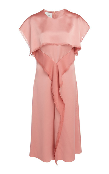 Cédric Charlier Frayed Satin Short-Sleeve Dress in pink