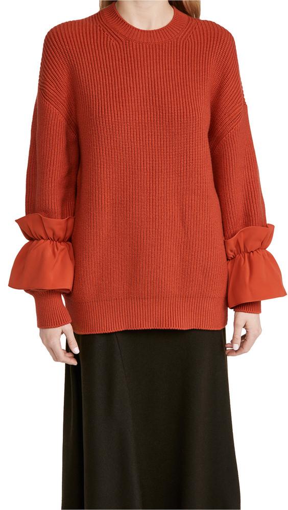 Adeam Ruffle Cuff Sweater in red