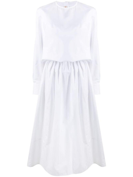 Marni gathered-waist mid-length dress in white