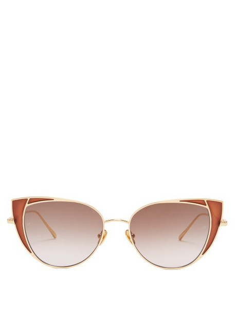 Linda Farrow - Des Voeux Metal Cat Eye Sunglasses - Womens - Brown