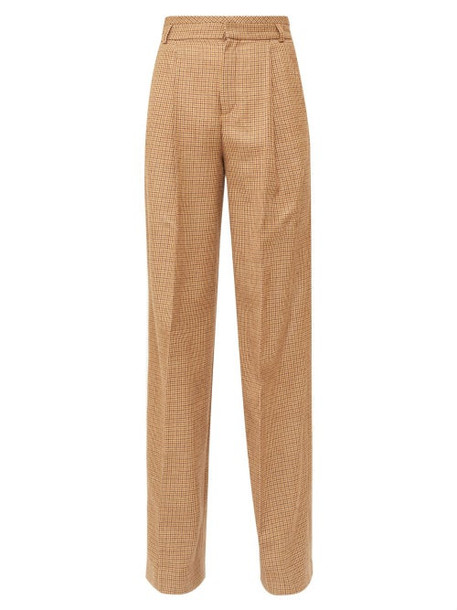 Chloé Chloé - High-rise Checked Twill Flared Trousers - Womens - Brown Multi