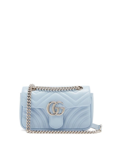 Gucci - GG Marmont Mini Quilted-leather Cross-body Bag - Womens - Light Blue
