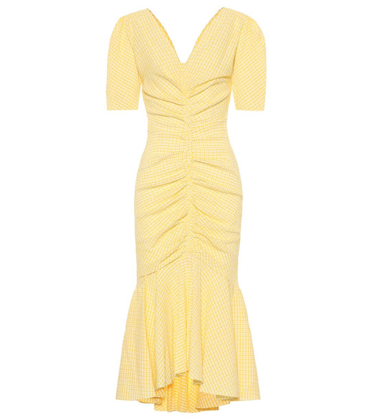 Staud Panier cotton-blend gingham dress in yellow