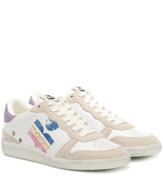 Isabel Marant Bulian leather and suede sneakers in white