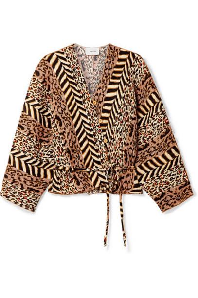 Nanushka - Ehara Paneled Printed Crinkled-voile Wrap Shirt - Leopard print