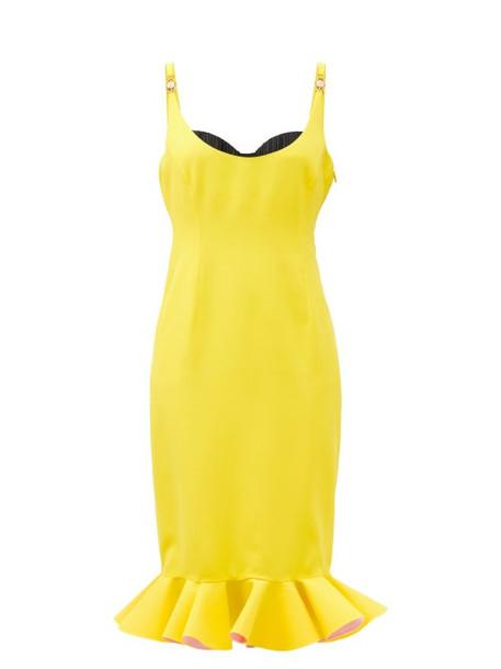 Versace - Sweetheart-neck Flounced Crepe Pencil Dress - Womens - Yellow Multi