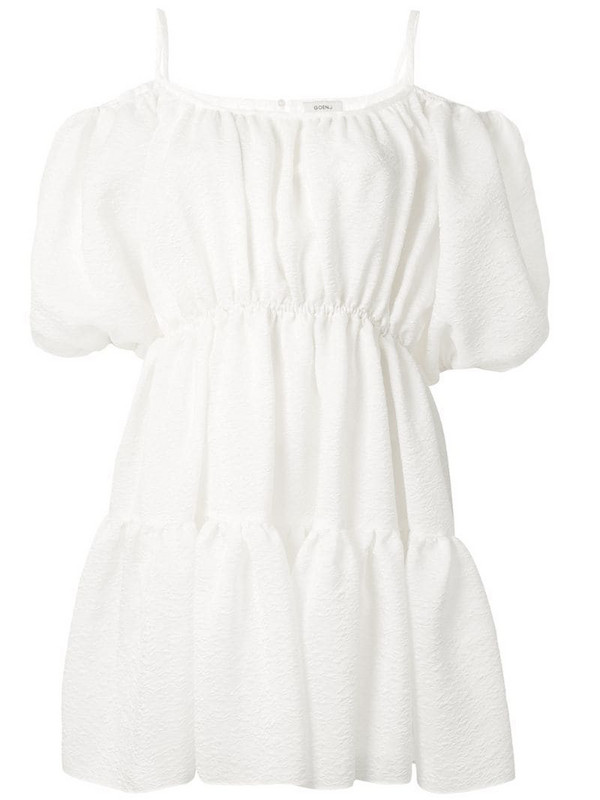 Goen.J balloon-sleeved tiered mini dress in white