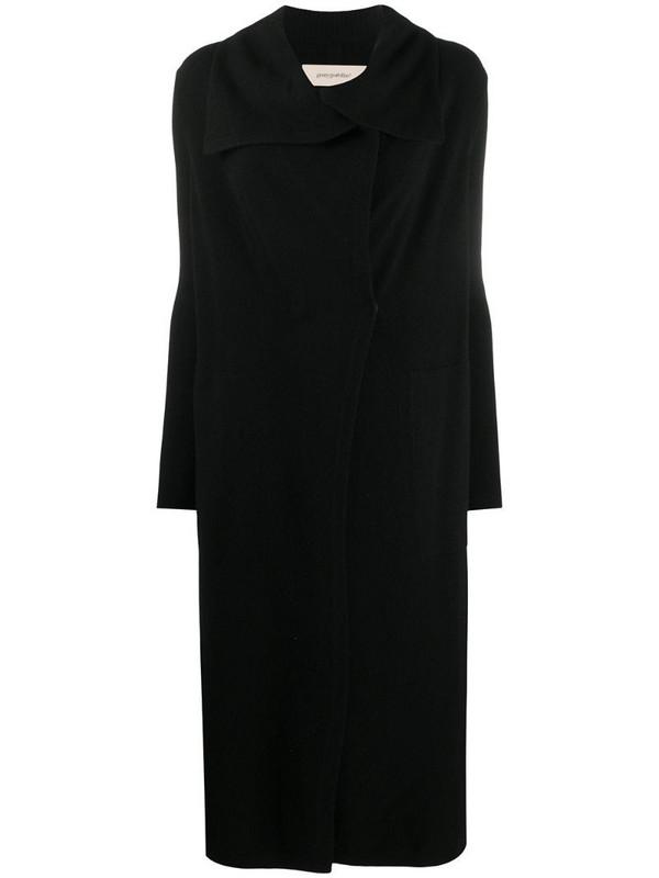 Gentry Portofino wrap-style knitted coat in black