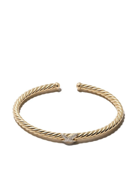 David Yurman 18kt yellow gold diamond X Cable Spira cuff bracelet