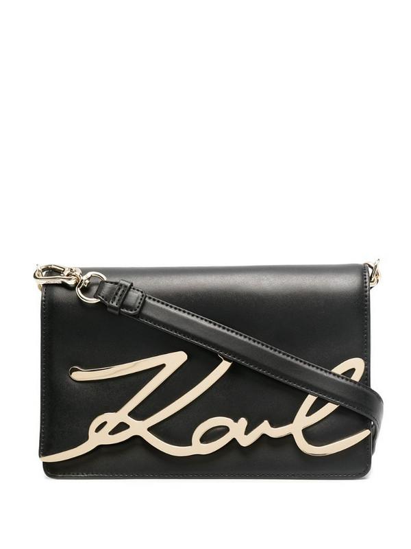 Karl Lagerfeld logo plaque-embellished cross body bag in black